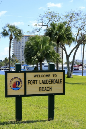 FORT LAUDERDALE, FLORIDA - FEBRUARY 3  Welcome to Fort Lauderdale Beach sign in Poinciana park near Las Olas Intracoastal waterway on February 3, 2013 in Ft Lauderdale, Florida