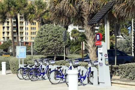 FORT LAUDERDALE, FLORIDA - FEBRUARY 5, 2013  Bikes for rent through Broward B-Cycle bike station near Sebastian beach located near Sebastian Street  There are 27 stations located in Broward county