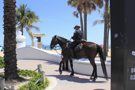 police unit: FORT LAUDERDALE, FLORIDA - APRIL 8, 2013  The Mounted Police Unit has been around locally since 1983, is very effective in crowd control, keeping the peace and may be seen more during spring break