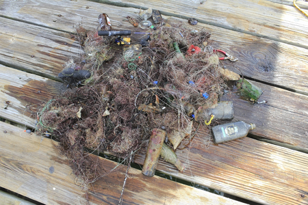 LAUDERDALE-BY-THE-SEA, FLORIDA - SEPTEMBER 21, 2013  One pile of many of a large variety of garbage divers cleaned from the sensitive coral reefs near Anglins Fishing Pier  Editöryel
