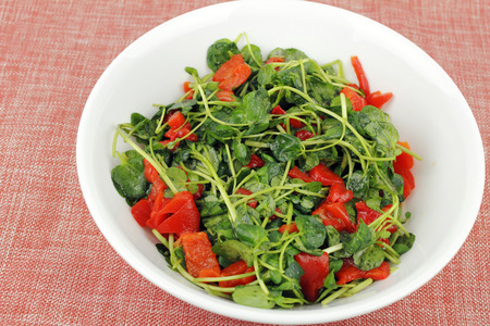 Delicious simple recipe of fresh watercress and roasted red pepper pieces mixed with lemon juice and olive oil in a round white bowl on a pastel orange and silver speckled cloth place mat closeup