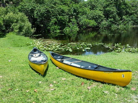 taylor: Two Canoes. On a sunny day in Hugh Taylor Birch State Park two yellow canoes are in front of water