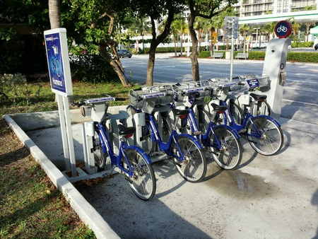 rentals: Broward B - cycles Bike Rental Kiosk. Bicycles for rent from a public kiosk in Fort Lauderdale, FL Stock Photo