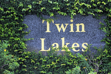 census: FORT-LAUDERDALE, FL, USA - JUNE 19, 2014: Twin Lakes south neighborhood entry sign in big yellow letters on a stone wall surrounded by green climbing vine foliage with some small yellow flowers. Twin Lakes in Broward County is a CDP, or census designated