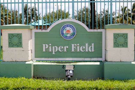scheduled: Sunrise, FL, USA - July 11, 2014: Located at 8000 NW 44th Street on the west side of Piper High School, this is a multipurpose field with a restroom for programs that are scheduled only. Sports played here are baseball, tee ball, football, soccer.