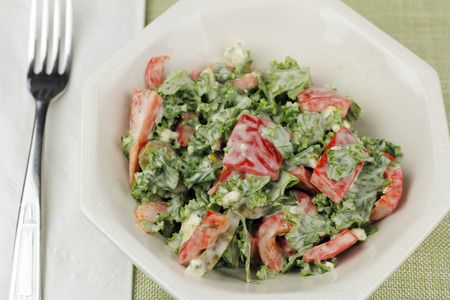 red jalapeno: Salad of sweet red bell peppers, green kale, jalapeno slices and blue cheese salad dressing. Dish of prepared salad of kale, red pepper, jalapeos and blue cheese dressing. Stock Photo