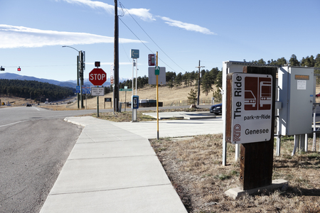 70 s: Genesee Park, CO, USA - November 8, 2014: RTD, Regional Transportation District, Genesee Park n Ride. Location is 285 S Mt Vernon Country Club Road at US Highway 40 north of I-70. Editorial