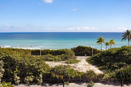 north hollywood: Hollywood, FL, USA - December 7, 2014: Sunny view from a watch tower over looking Hollywood North Beach Park. High up view of a protected natural area and Hollywood beach.