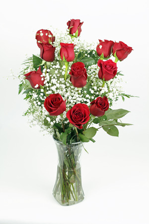 One red roses flower arrangement with its leaves and white babies breath blossoms in a clear glass vase. A dozen fresh cut red roses with babys breath in a glass vase