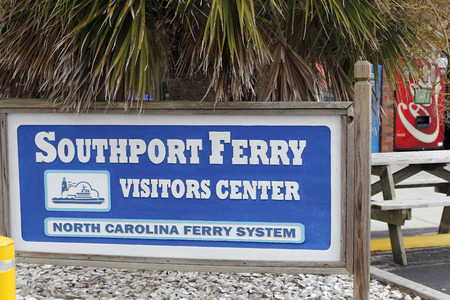 Southport, NC, USA - September 29, 2016: Signs of Southport Ferry Visitors Center and North Carolina Ferry System. Signs to the Southport visitors center and ferry