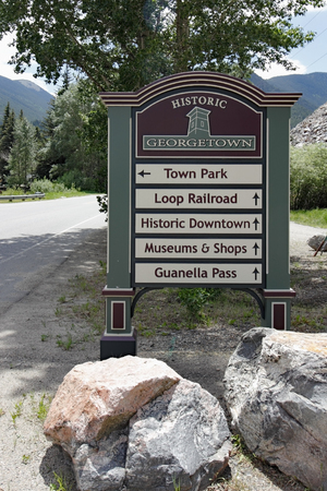 Georgetown, CO, USA - June 23, 2016: Directional road sign of Historic Georgetown. Roadside sign with arrows to local Historic Georgetown attractions.