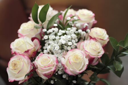 Beautiful bouquet of white roses with small amounts of red pink color the edges. Close-up floral arrangement of white pink roses, babys breath and leaves Stock Photo