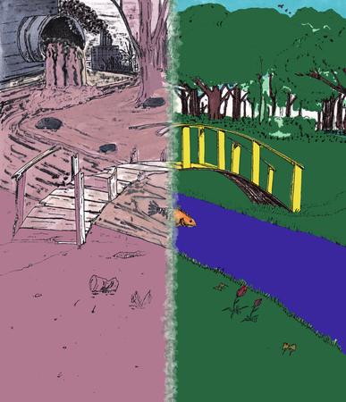 1つの歩道橋は、右側に健康できれいなシーンで不健康な風景を分割します。汚染された、反対側に示されるクリーンな環境。