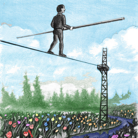 Older male carrying a large balance pole walking away on a high tight rope above flowers. Middle-aged gentleman with  balancing pole walking a tightrope.