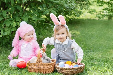 Children play with real rabbit. Laughing child at Easter egg hunt with pet bunny. Little toddler girl playing with animal in garden. Cute funny girl with Easter eggs and bunny ears at garden. Stock Photo - 137365840