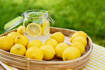 Plate with ripe fresh lemons and lemonade. Vitamins concept. copy space. Strengthening immunity concept. Tropical fruit. Organic citrus fruits for a healthy diet.
