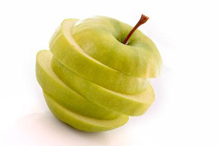sliced apple: Sliced apple on white Stock Photo