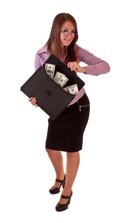 Young woman with dollars in bag isolated on white photo