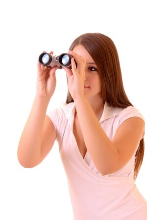 Young brunette woman with binocular isolated on white photo