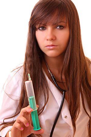 Young nurse with syringe isolated on white photo