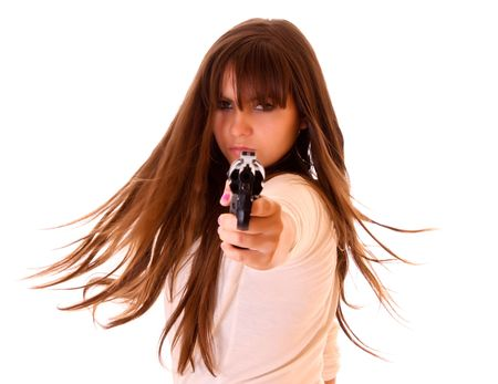 Young beautiful woman with revolver isolated on white Stock Photo - 6189226