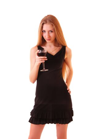 beautifull woman: Young beautifull woman with wine glass isolated