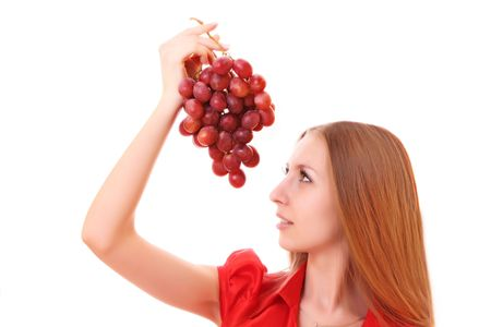 Girl with grapes photo