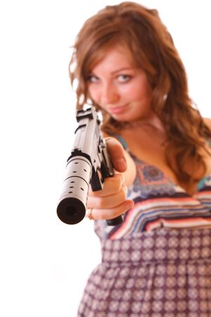 the silencer: Woman aiming with pistol isolated on white