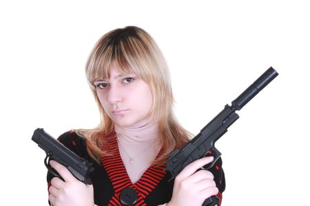 Young girl with two guns Stock Photo - 6363047