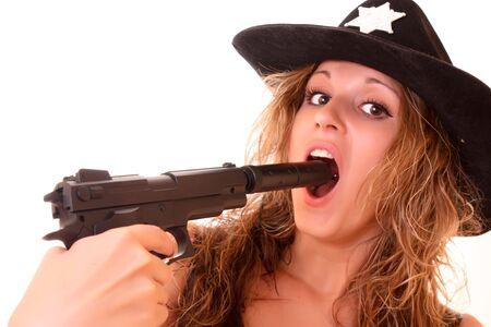 the silencer: Beautiful sheriff woman with gun isolated on white Stock Photo