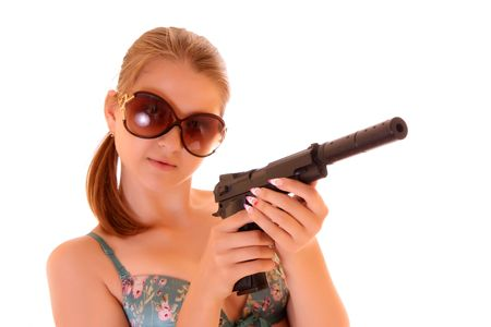 swimsuite: Beautiful woman in swimsuite with gun isolated on white