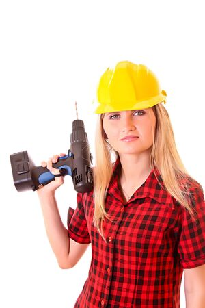 Young girl in helmet with drill isolated on white Stock Photo - 6363282