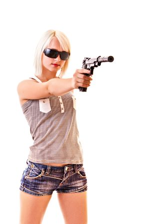 weapons: Young woman with gun isolated on white