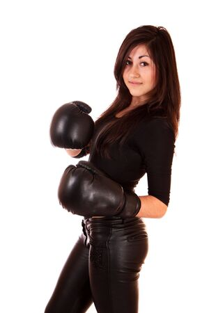 gloves women: Woman with boxing gloves isolated on white