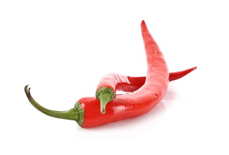 chilly: Two red chilly pepper isolated on white Stock Photo