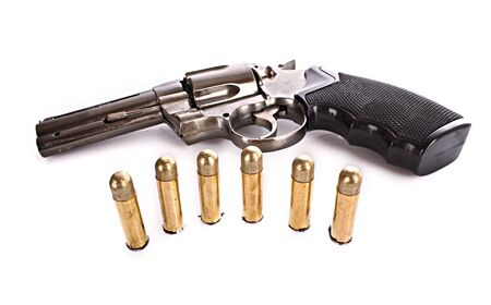 Viñetas y revólver. Pistola no real (más claro) Foto de archivo - 6840358