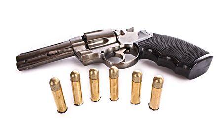 Vi�etas y rev�lver. Pistola no real (m�s claro) Foto de archivo - 6840358