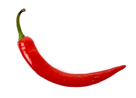 chilly: Red chilly pepper isolated on white Stock Photo