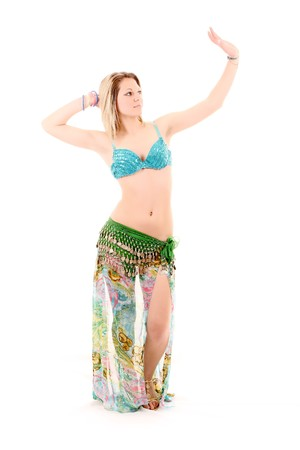 belly button: Beautiful woman dancing in east style isolated on white Stock Photo