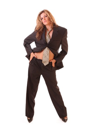 office slave: Young woman in office suit isolated on white Stock Photo