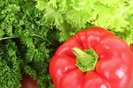 greeen: Red Pepper and green salad Stock Photo