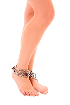 Woman legs tied up by chain isolated on white Stock Photo - 7963189