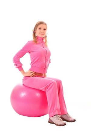 Woman with Exercise ball isolated on white photo