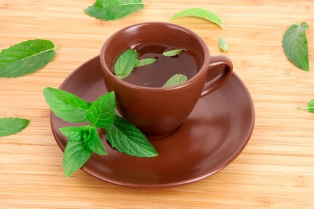flavorful: Cup of green tea on the saucer with mint on wooden surface