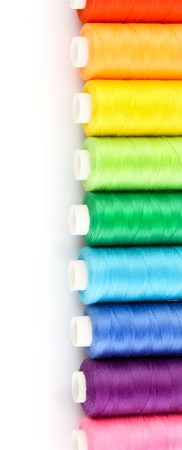 silk thread: Few bobbins isolated on white