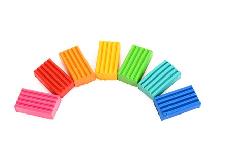 childen: Childen bright colour plasticine  isolated on white