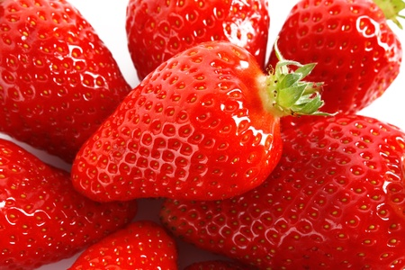 fruity: Few Strawberries isolated on white