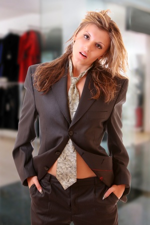 Young woman in office suite. Fashion store photo