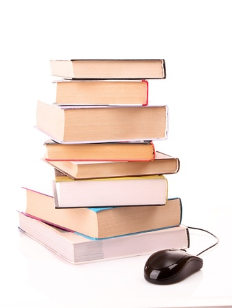 hard cover: Hard cover books and computer mouse isolated on white Stock Photo
