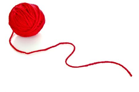 cotton wool: Red ball of woollen red thread isolated on white